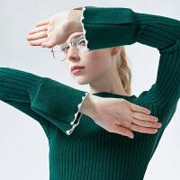 【2件3折 叠券预估价:71.0元】2020 初语秋装新款 时尚复古杂色喇叭袖修身针织打底毛衣