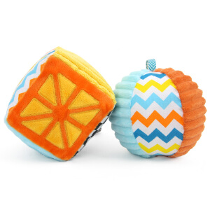 橙爱 奇趣森林方块布球摇铃婴幼儿益智手抓球毛绒布艺新生儿玩具