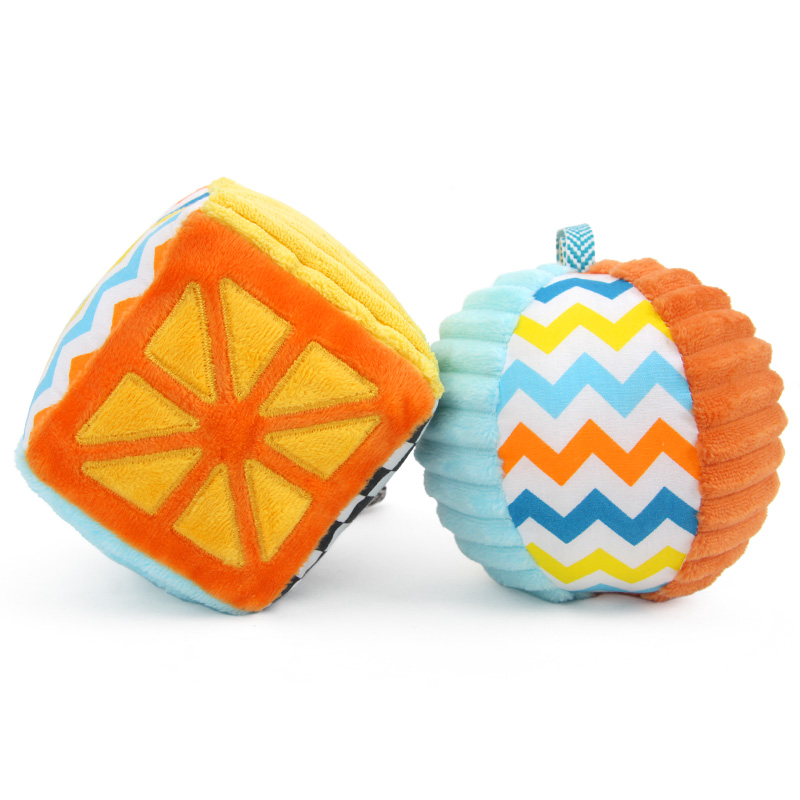 橙爱 奇趣森林方块布球摇铃婴幼儿益智手抓球毛绒布艺新生儿玩具益智玩具限时钜惠