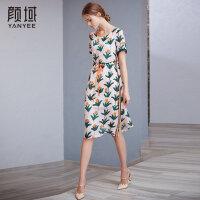 颜域2018夏季新款大牌气质时尚修身显瘦中长款桑蚕丝真丝连衣裙女