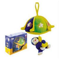 欢乐童年 伊诗比蒂婴儿玩具降落伞小猴子闪灯音乐拉绳宝宝床挂床头毛绒玩偶