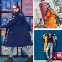 冬季新款两面穿黄色宽松羽绒服女中长款韩国学生可爱白鸭绒外套 藏青色+黄色 S 110斤以下