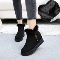 雪地靴女冬季2018新款韩版短筒加绒加厚保暖棉靴毛毛鞋百搭女靴子 黑色 C81内增高3厘米