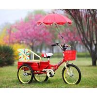 新款儿童三轮车带斗双人充气轮铁斗折叠脚踏车3-5岁单自行车
