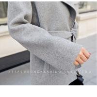新款双面呢仿羊绒大衣女秋冬韩版宽松系带短款西装领小个子毛呢外套