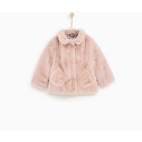 纯元童装女宝宝秋季加厚外套粉色仿皮草绒绒上衣女童大衣棉衣
