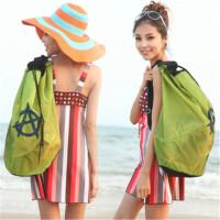 茉蒂菲莉 沙滩包 海边出游装备大容量韩版情侣网格防水游泳双肩背包
