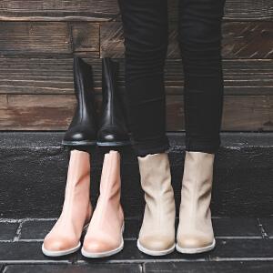 玛菲玛图中筒靴女冬季2018新款低跟圆头平底靴英伦牛皮后拉链黑色马丁靴女3301-6