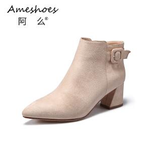 阿么2017学院风平底单靴粗跟皮带扣纯色百搭韩版短靴女靴