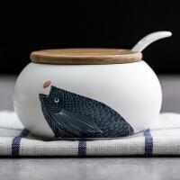 创意陶瓷调味罐三件套日式竹木调味盒瓶罐套装盐罐味精瓶厨房用具