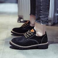 系带黑色小皮鞋2019新款英伦风女鞋学院风学生复古森系平跟单鞋潮