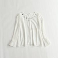 长袖雪纺衫 圆领亮片薄款甜美打底白色衬衫26