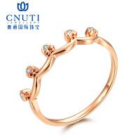 CNUTI粤通国际珠宝18K金钻戒皇冠系列简约钻石戒指女彩金