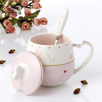 办公室陶瓷水杯子 情侣创意带盖勺马克杯可爱咖啡杯个性骨瓷牛奶杯