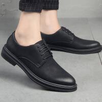 №【2019新款】英伦潮鞋加绒小皮鞋男士真皮商务正装韩版青年内增高休闲男鞋