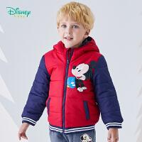 【2件3折到手价:84.6】迪士尼Disney童装 男童夹棉连帽外套冬季新品米奇印花保暖上衣儿童中长款棉服194S11