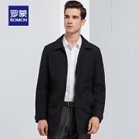 罗蒙男中长款夹克2020春季商务休闲翻领外套中老年爸爸装百搭风衣