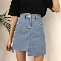 牛仔半身裙女夏装2018新款韩版高腰不规则chic韩风裙子A字短裙