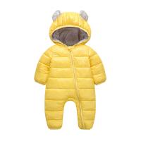 婴幼儿童连体衣加厚羽绒棉爬服男女童宝宝包被外出服冬装哈衣