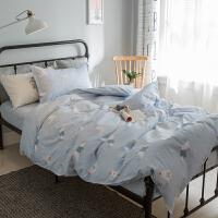 ???纯棉学生宿舍被套单人床上三件套床品 儿童床单1.2米床上用品 全工艺 雪地