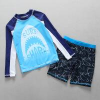 韩版分体泳装男童中小童大鲨鱼防晒温泉泳装儿童泳衣 天蓝色