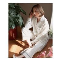 日系秋冬韩版气质奶白情侣睡衣长袖开衫男女家居服两件套装