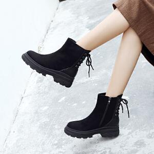 ZHR小短靴2018秋冬季新款INS网红靴子女潮英伦风踝靴平底短筒单靴