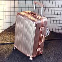 拉杆箱男士铝框行李箱密码箱商务旅行箱包皮箱子万向轮韩版24寸潮 防刮铝框款玫瑰金 20寸