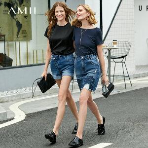 【到手价:51.9元】Amii极简ulzzang时尚设计感T恤2019夏季新款纯色基础款一字领上衣