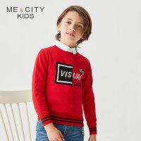 【1件2.5折到手价:64】米喜迪mecity童装春新款男童毛衣含羊毛字母提花长袖毛衫