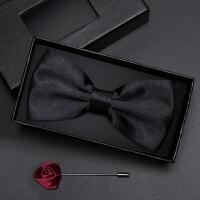 伴郎服酒红色领结韩版蝴蝶结礼盒装男士黑色领结套装