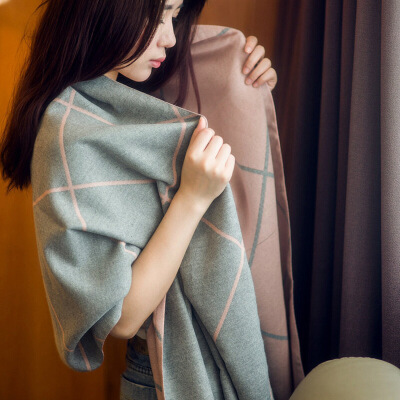 №【2019新款】冬天美女带的围巾女韩版双面格子学生围脖长披肩加厚两用秋百搭大披风