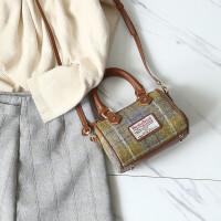 女包包2018新款波士顿女包格子枕头包春夏格纹手提包斜挎包迷你SN4576 黄色 小号现货