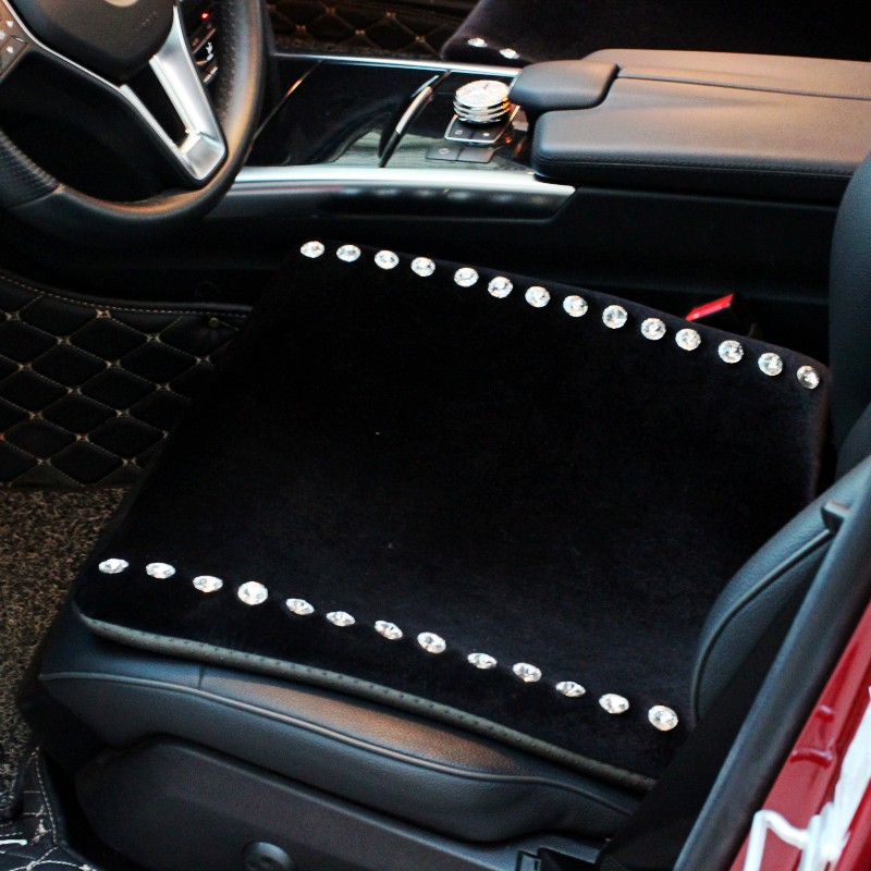 普晶冬季毛绒汽车坐垫镶钻水钻男女士车载车用座垫小三件绒布坐垫