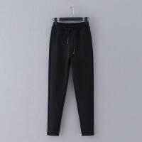 5 冬季新款抽绳松紧腰加厚纯色小脚裤女式休闲裤卫裤子