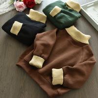 中小冬装新款男女童拼接针织高领加绒卫衣宝宝加厚套头衫A5-B