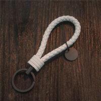 手工编织钥匙扣圈链个性简约男女士高档情侣汽车钥匙扣挂件bv奔驰 白色 钨钢皮绳