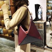 包包女2018新款潮韩版三角折纸菱格折叠托特单肩包大包手提包女包