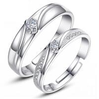 欧丁情侣戒指女925纯银对戒男韩版戒指创意饰品一对指环生日礼物T