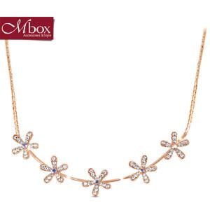 新年礼物Mbox项链 女韩国版原创采用波西米亚风花朵元素锁骨项链 五朵金花