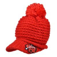 女秋冬天可爱 帽子 贴布厚毛线帽 保暖针织帽鸭舌帽