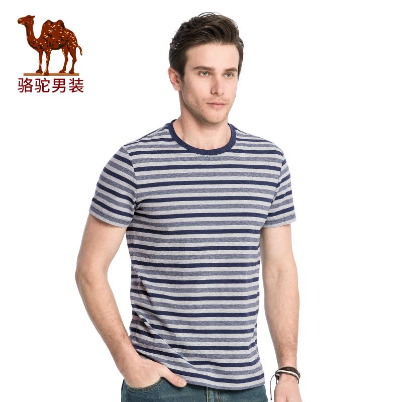 骆驼牌男装 2018夏季新款时尚青年休闲短袖条纹圆领棉T恤男上衣