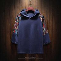 2018夏季男士短袖T恤五分袖套头卫衣连帽衫韩版宽松七分袖半袖潮