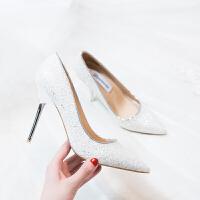 礼仪高跟鞋2018新款尖头单鞋女细跟水晶鞋亮片伴娘白色婚鞋新娘鞋SN7847 33 6厘米羊皮踩垫