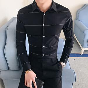 夏季气质商务时尚新款男士休闲长袖衬衫韩版帅气修身衬衣19