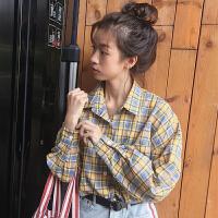 新款2018春装韩版原宿女装学生宽松显瘦百搭学生衬衣长袖格子衬衫