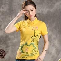 中国风女装旗袍上衣短袖T恤2018夏装新款民族风复古盘扣刺绣花T恤
