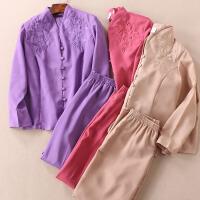 气质优雅 民族风精品刺绣花朵妈妈春装 女士中老年两件套装 B565