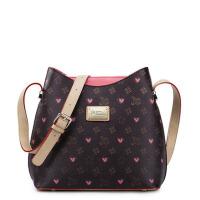 韩版水桶包 单肩包 斜挎女包女士包包撞色挎包 玫瑰红