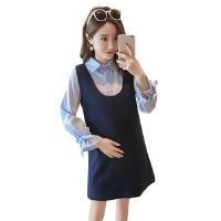 孕妇装秋装连衣裙潮妈孕妇连衣裙衬衣背心裙两件套春秋孕妇套装7197 蓝色